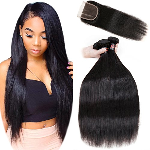 8A Malaysian Straight Hair 3 Bundles With Closure Virgin Unprocessed Human Hair Wefts Hair Extensions Deal With Mixed Lengths 20 22 24 Inches With 16 Inches Three Part Closure by RESACA