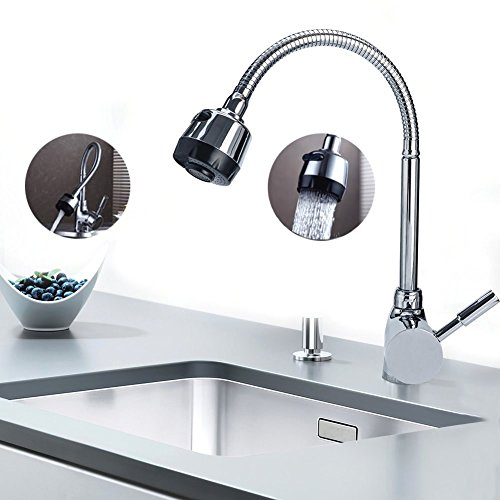 Kitchen Faucet, Stainless Steel Single-Handle Pull Down Kitchen Sink Faucet with 360° High Arc Swivel Spout Hot and Cold Water, Flexible Bendable, Chrome Plated Finish, Lead-Free Construction