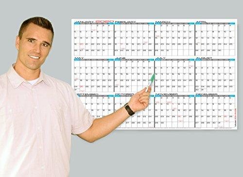 "Wet Erase - 24"" x 36"" Large 2020 Yearly Laminated Wall Calendar - Horizontal Planner (20h-2436)"