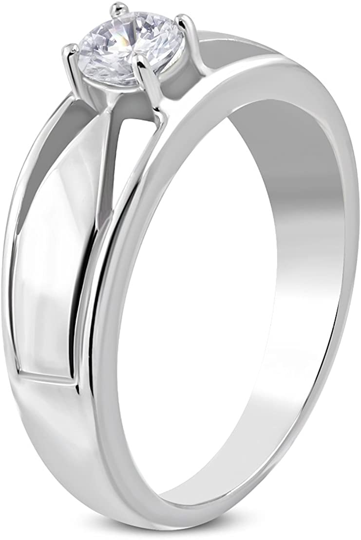 Stainless Steel Prong-Set Round Geometric Ring with Clear CZ
