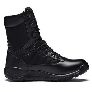 8054f253 FHCGMX Botas de Cuero Genuino con Cordones Botas Negras para Hombre  Construcción Exterior Hombres Zapatos Militares Botas tácticas Hombre:  Amazon.es: ...