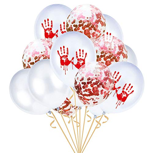 Gbell12'' Scary Halloween Confetti Balloons 15Pcs/Set,Bleeding Hand Foot Print Balloons Skeleton Print Props for Kids Adults Halloween Party Decor Supplies (B) ()
