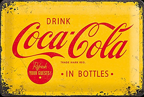 Coca Cola In Bottles (yellow b'ground) embossed steel sign (na 3020) by signs-unique