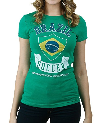 FIFA Womens World Cup Canada 2015 Brazil Banner Juniors T-shirt-medium