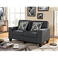 US Pride Furniture Modern Fabric Upholstered Loveseat With Two Reversible Pillow Low Arm Finish With Wooden Legs  Charcoal
