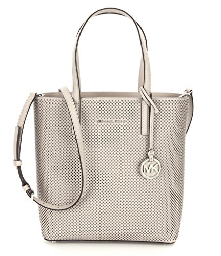 mk hayley large tote   MICHAEL Michael Kors Hayley Perforated North/South Tote (Cement)
