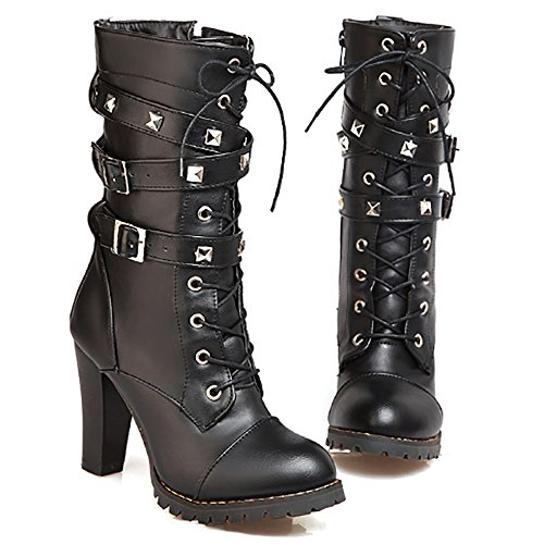 Ifantasy Fashion Women's Lace Up Ankle Booties Punk Rock Rivet Chunky Heel Leather Military Combat Boots Black