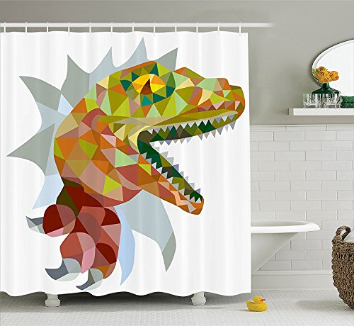 Reptile Decor Shower Curtain Set Multi Colored Mosaic Wild Trex Illustration Opens Mouth Jurassic Pixel Dinosaur Home Decor Bathroom Accessories ()