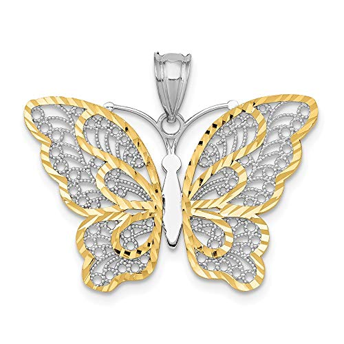 14K Yellow Gold With White Rhodium Polished Filigree Butterfly Pendant