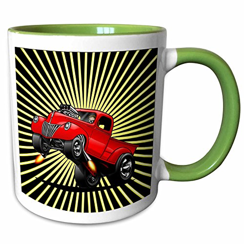 (3dRose Mark Grace CARS AND WILD RODS 1940 blown pick-up - a red 1940 custom pick-up nailing it and getting air with an explosive background - 15oz Two-Tone Green Mug (mug_160371_12) )