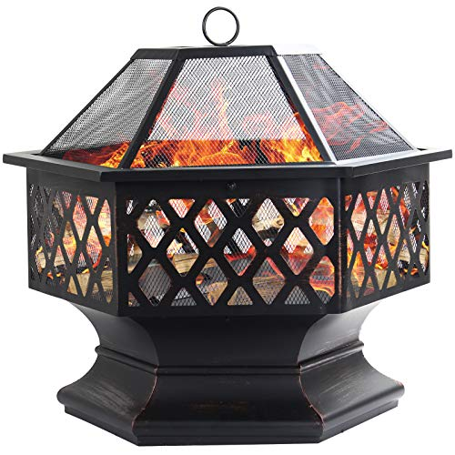 Dawoo Fire Bowls For Garde,Outdoor Garden Heater Bronze Fire Pit Charcoal Burning Fire Bowl, 60Cm Fire Pits For Garden