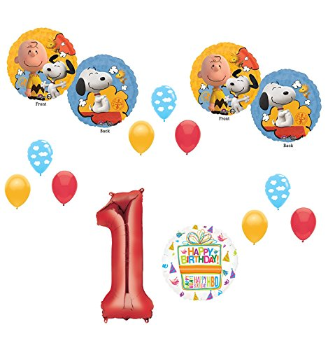 Charlie brown and Snoopy Peanuts 1st Birthday Party Supplies and Balloon Bouquet Decorations