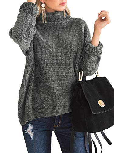 Ferbia Cowl Neck Pullover Sweaters for Women Chenille Chunky Cable Knit Sweater Oversized Loose Tops Grey