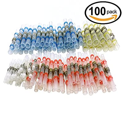 100pcs Wire Connector, Sopoby Solder Seal Heat Shrink Electrical Butt Connectors Terminals Kit Insulated Marine Waterproof Automotive Copper With Case(35Red 30Blue 25White 10Yellow)