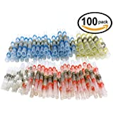 100pcs Solder Seal Wire Connector, Sopoby Solder Seal Heat Shrink Butt Connectors Terminals Electrical Copper With Case(35Red 30Blue 25White 10Yellow)