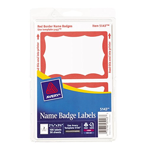 "Avery Print or Write Name Badge Labels with Red Border , 2-11/32"" x 3-3/8"", Case Pack of 18 (5143)"