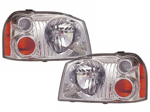 Nissan Frontier Base/XE Aluminum Bezel Headlights Set Headlamps Pair (Nissan Frontier Headlamp compare prices)