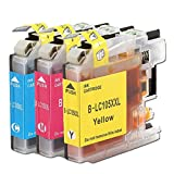 Aprobu Ink Cartridge for Brother LC105XXL LC105 LC105CL XXL(3-Pack,1 LC105C 1 LC105M,1 LC105Y) High Yield Compatible with Brother Series Printers