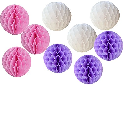 Daily Mall 9pcs 8 inch Honeycomb Balls Party Pom Poms Tissue