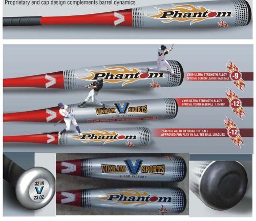 Brand NEW 2017 Phantom BIG 2.75 inch BARREL Baseball Bat 29 Inch 20 oz (-9) made from VX99 Ultra Strength Alloy by Vikram Sports at Factory Direct Price