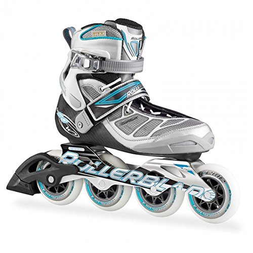 Rollerblade 15 Tempest 90C High Performance Fitness/Training Skate with 4x90mm Supreme Wheels, Silver/Light Blue, US Women's 8