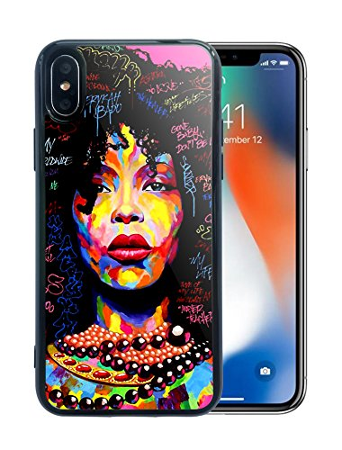 iPhone X Case iPhone Xs Case African American Girls Women Art Girly Design Black Hair Afro Love Smooth Sleek TPU Protective - KITATA