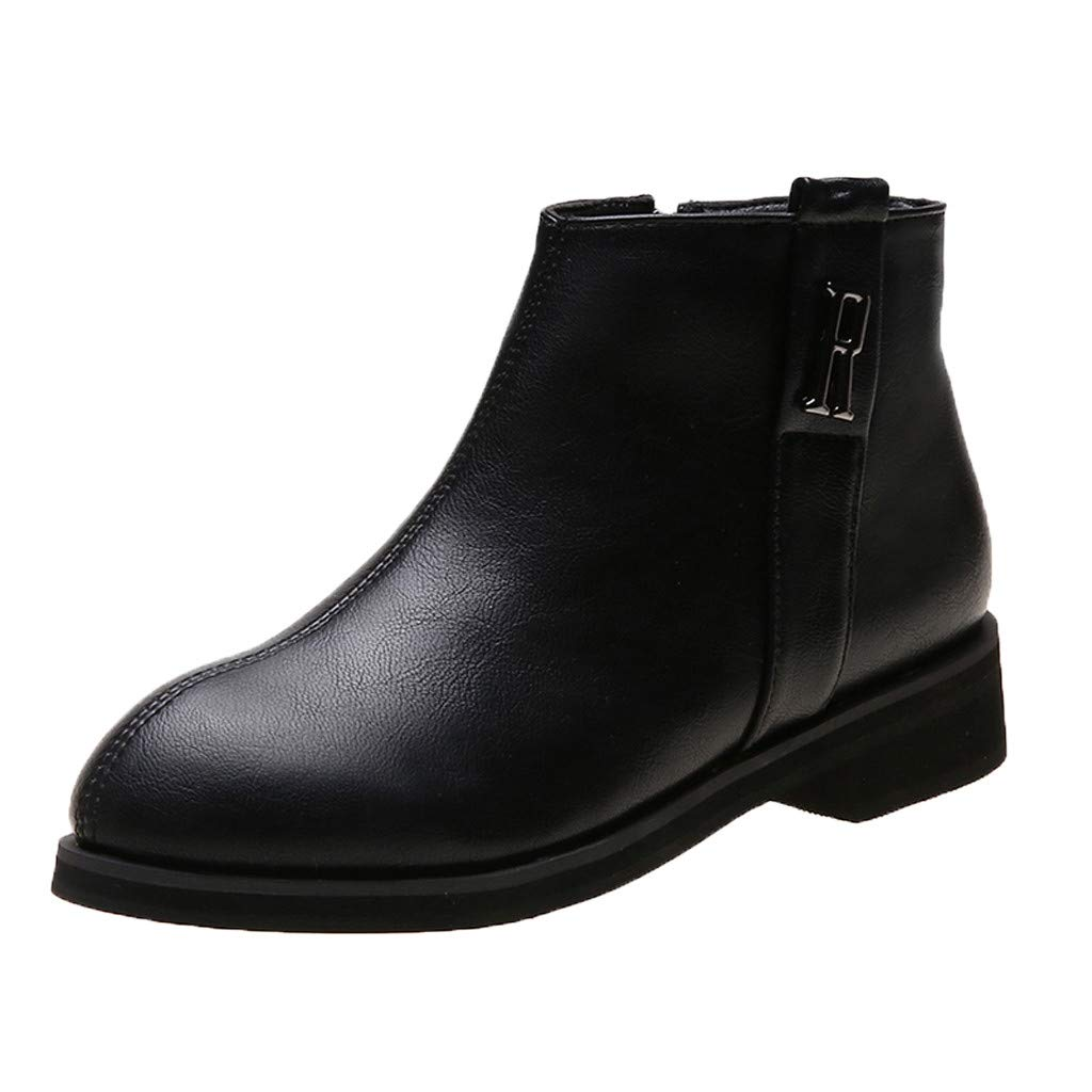 Dermanony Women's Booties Large Size Leather Buckle Ankle Boots Pointed Toe Side Zipper Winter Boots Fashion Flat Shoes Black by Dermanony _Shoes