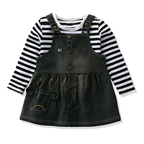 LvYinLi Baby Girls Clothes Cartoon Girls' Long-Sleeved T-Shirt With Denim Overalls Dress Set (2 Years, - Embroidered Sleeved Long T-shirt