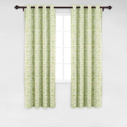 Deconovo Fashionable Abstract Square Print Window Curtain Panel Grommet Thermal Blackout Window Curtains for Kitchen 52W x 84L Green 2 Panles