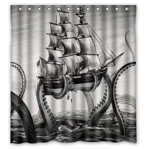 Generic-Personalized-Sailing-Big-Octopus-on-the-Sea-Black-and-White-Vintage-Style-Sold-By-Too-Amazing-Shower-Curtain-Bath-Decor-Curtain-66-x-72