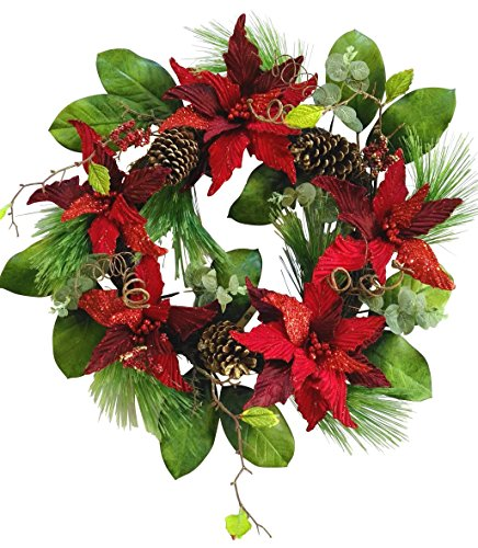 V-Max Christmas Poinsettia Wreath Red 24 inches ()