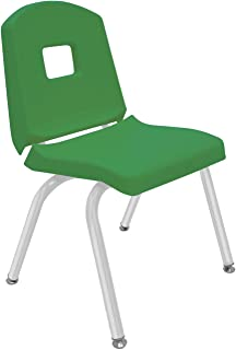 "product image for Creative Colors 1-Pack 14"" Kids Preschool Stackable Split Bucket Chair in Dustin Green with Platinum Silver Frame and Self Leveling Nickel Glide"