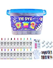 WINSONS Tie Dye Kit, 20 Colours Non Toxic Permanent Fabric Dye Art Set for Kids Women for Homemade Party Creative Group Activities DIY Gift