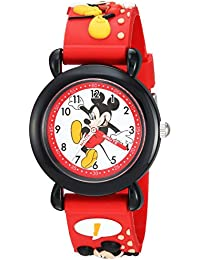 Boy's 'Mickey Mouse' Quartz Plastic Casual Watch, Color:Red (Model: WDS000393)