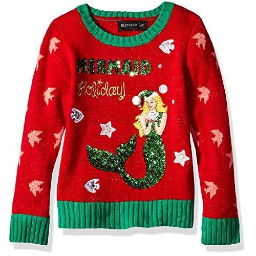 Blizzard Bay Girls L//S Crew Neck Christmas Unicorn Sweater