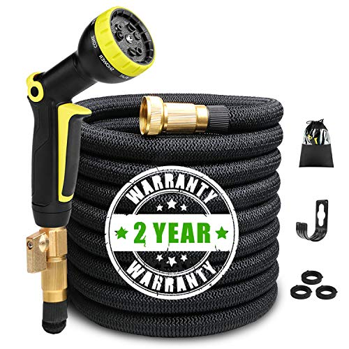Expandable Garden Hose 50ft Flexible Expanding Water Hose with 3/4 Inch 100% Solid Brass Fittings 9 Function Hose Nozzle, 50' Lightweight Gardening Hose, Outdoor Yard Cloth Hoses (1 Year Guarantee) by NAYAHOSE