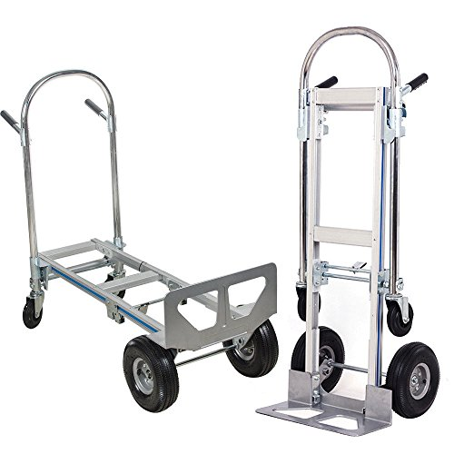Zinnor Hand Truck 2 in 1 Aluminum Folding Hand Truck 770LBS 51Inch Height Convertible Hand Truck Foldable with 2 Wheel Dolly and 4 Wheel Cart ()