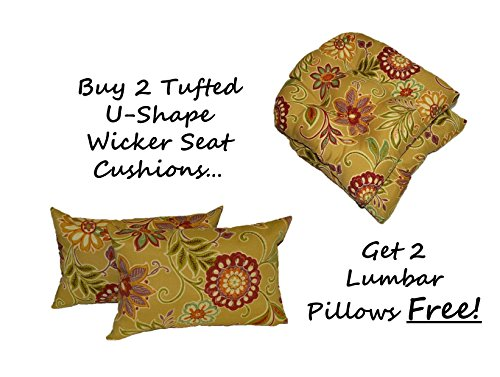 (Set of 2 - Indoor / Outdoor Universal Tufted U-shape Cushions for Wicker Chair Seat - Tan, Burgundy, Olive Green, Purple, Orange, Teal Floral Scroll + 2 Free Lumbar / Rectangle Pillows)