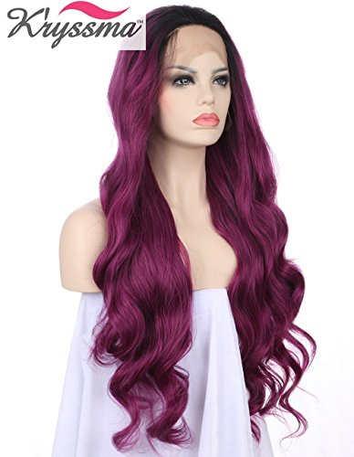 K'ryssma Lace front Wigs for Women - Long Wavy Purple Wig Ombre Dark Roots Heat Resistant Glueless Synthetic Hair Wigs 24 inches + 2 Pcs Wig (Wigs Purple)