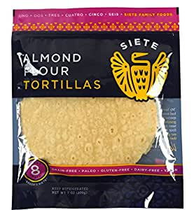 Siete Almond Flour Tortillas, Paleo Approved, 8 count (1 Pack - 8 Tortillas)