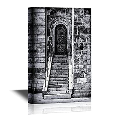 Doors Canvas Wall Art - Cathedral Door and Steps. Lund, Sweden. - Gallery Wrap Modern Home Art | Ready to Hang - 12x18 inches