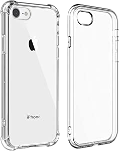 2 Pack Clear iPhone 8 Case iPhone 7 Case Anti Scratch Case Shock Absorption Protective Case Support Wireless Charging Thin Cover Smooth Edge Case & Case with Protective TPU Bumper Corners