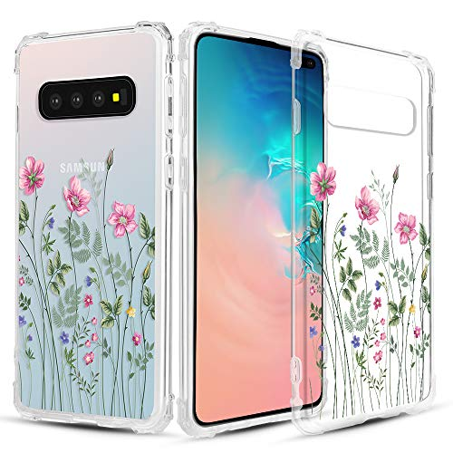 Floral Pattern Crystal - Caka Clear Case for Galaxy S10 Plus Clear Floral Case Flower Pattern Vine Series Slim Girly Anti Scratch Excellent Grip Premium Clarity TPU Crystal Case for Samsung Galaxy S10 Plus - Pink