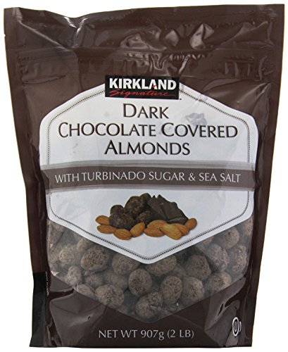Kirkland Dark Chocolate Covered Almonds With Turbinado Sugar and Sea Salt - 32 Ounce