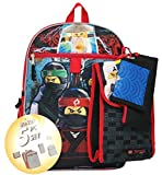 LEGO Ninjago 16'' Backpack 5pc Set with Snack Tote, Wallet, Pencil Case and Carbiner Clip, Black