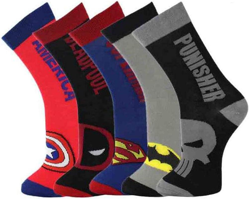 Jintong 5 pares Harajuku Superhero calcetines para cosplay bajo Superman Batman Capitán América Le Punisher Deadpool Skate Long