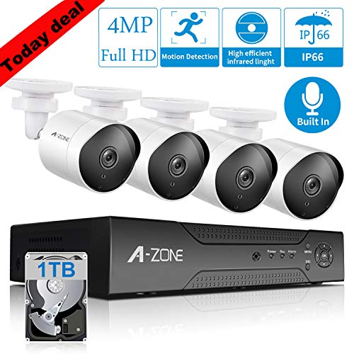 【Audio】 4MP PoE Security Camera System Video Audio Recording IP Camera System 4CH 2592 X1520P HD PoE Bullet Security Camera Built-in Microphone Outdoor Indoor, QR-Code Connection - 1TB Hard Drive