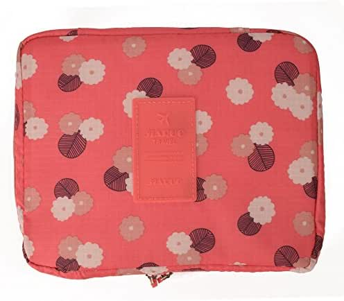 Jiaruo multi-function travel cosmetic bag waterproof Makeup bags (floral pink)