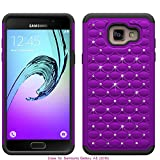 Berry Accessory(TM) Studded Rhinestone Crystal Bling Hybrid [ Dual Layer ] Armor Case Cover for Samsung Galaxy A5 / A510 2016 + Berry logo stand holder (Purple/ Black)