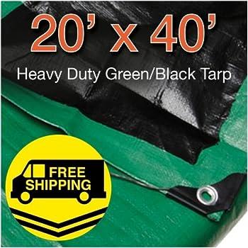 20' x 40' Heavy Duty Green/Black Reversible 10 Mil Poly Tarp